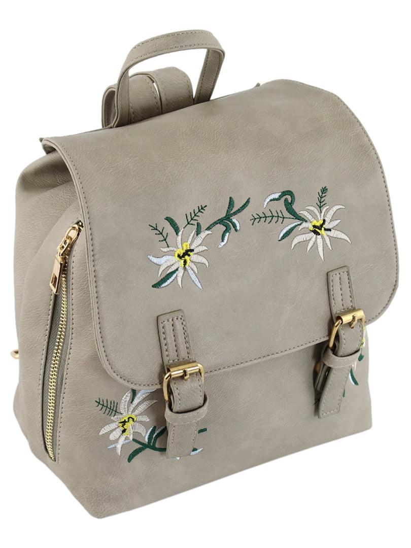 Рюкзак серый с вышивкой | 5195036