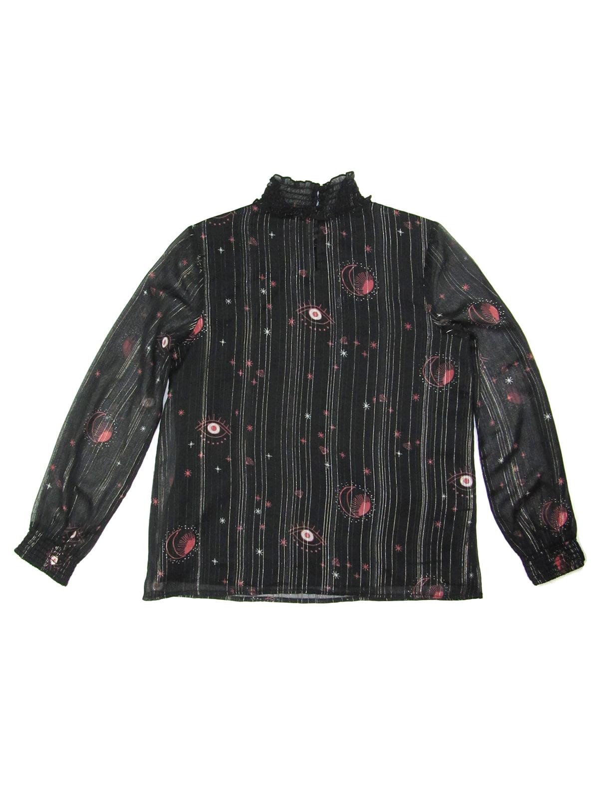 Блуза чорна в принт | 5195990