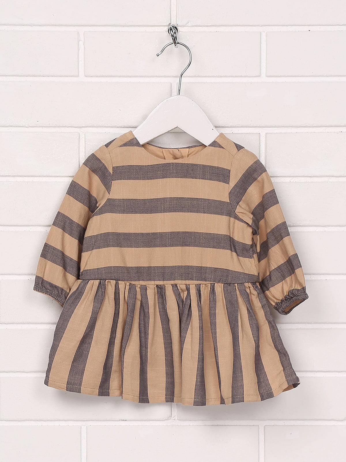 Платье коричневое в полоску | 5196613