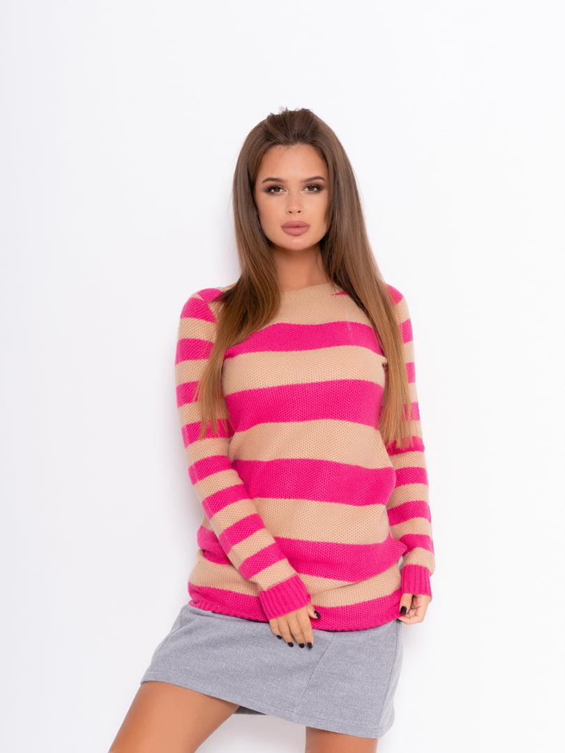 Джемпер рожевий у смужку | 5200693