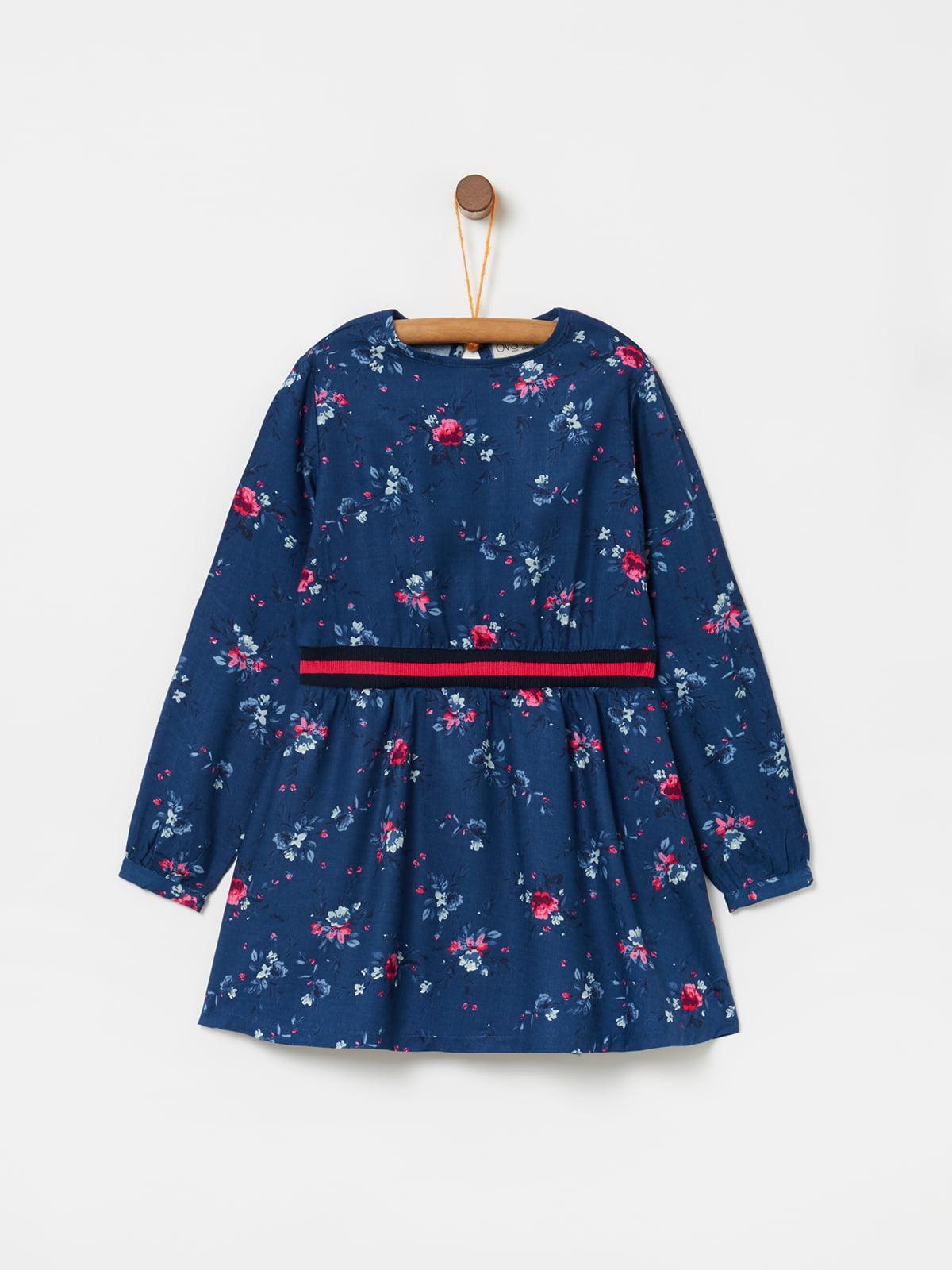 Платье синее в принт | 5166659