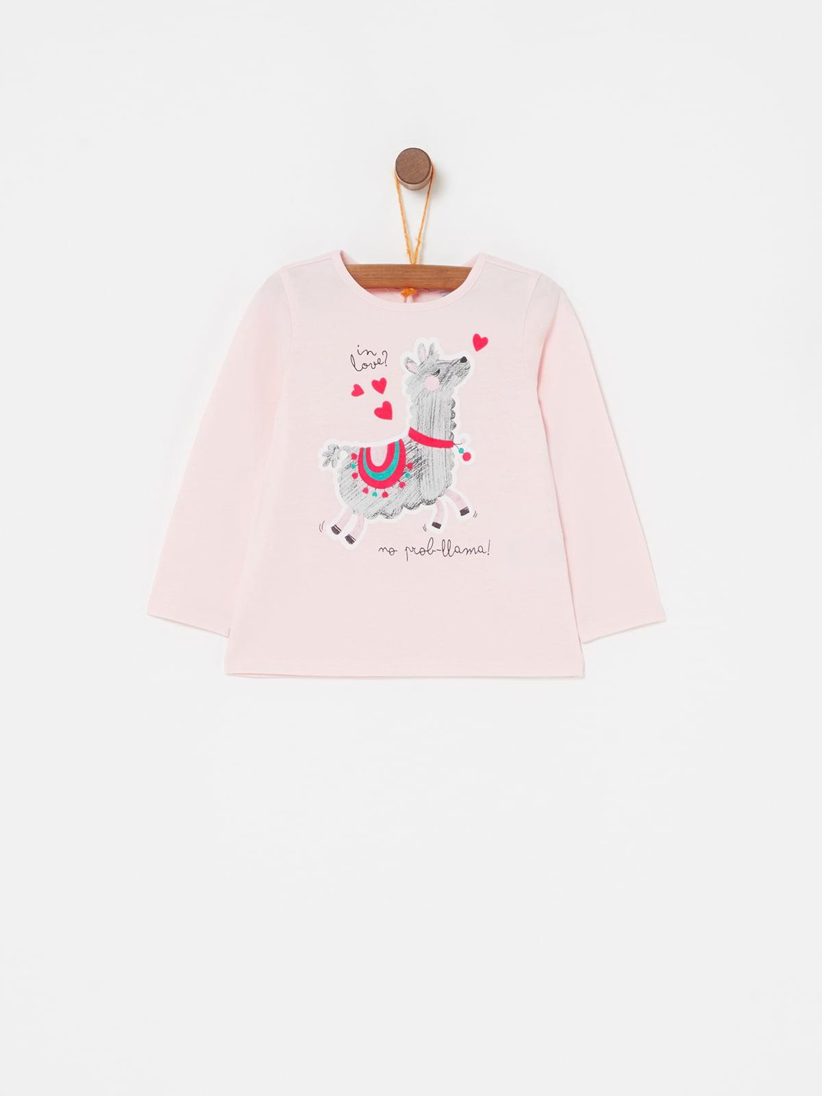 Лонгслів рожевий з принтом | 5183617