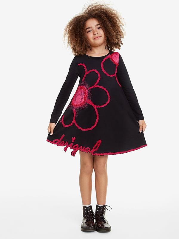 Сукня чорна з принтом | 5170126