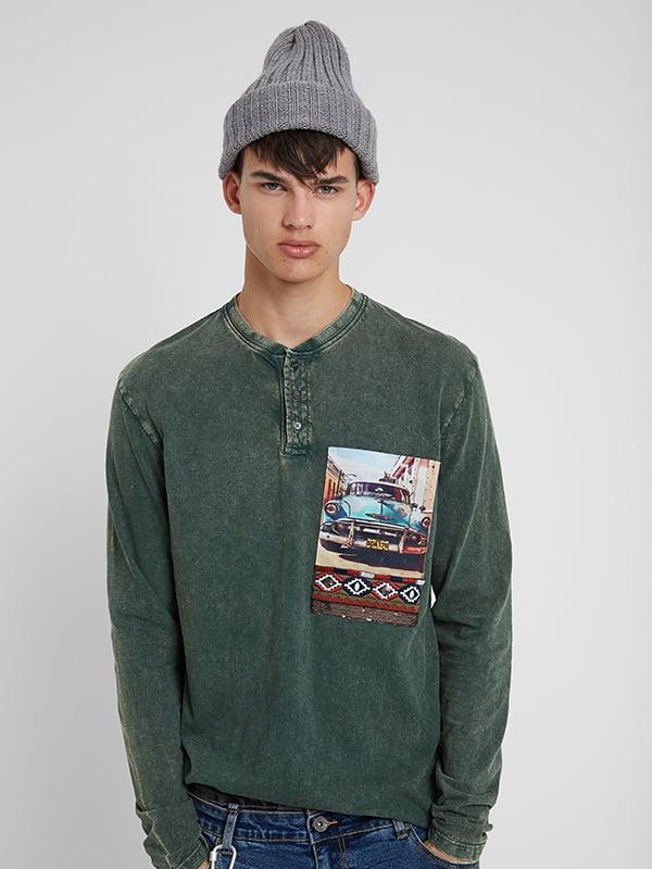 Лонгслів зелений із принтом | 5170133