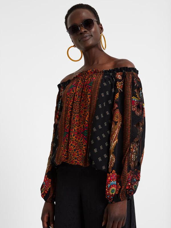 Блуза чорна в принт | 5170136