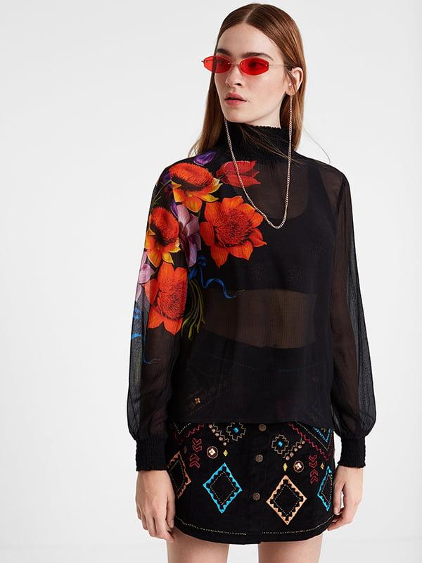 Блуза черная с принтом | 5170137