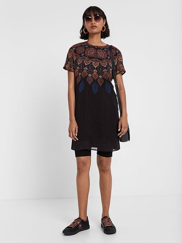 Сукня чорна в принт | 5170153