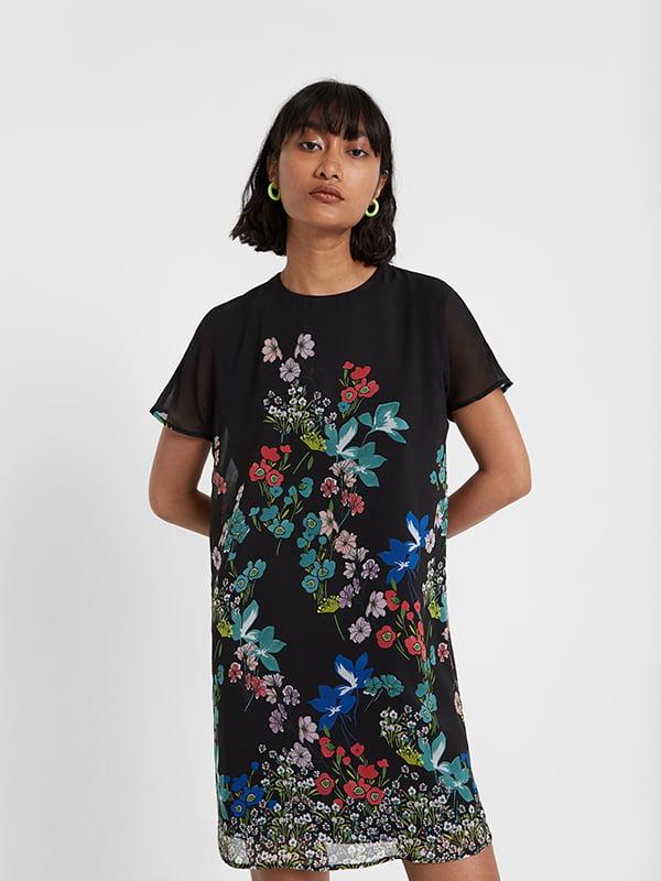 Сукня чорна в принт | 5170154