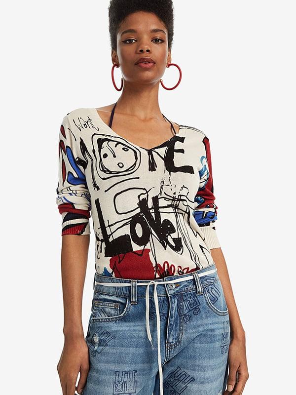 Пуловер білий у принт   5185601