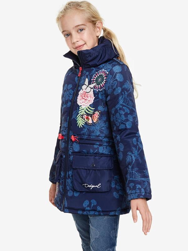 Куртка синя в принт | 5196440