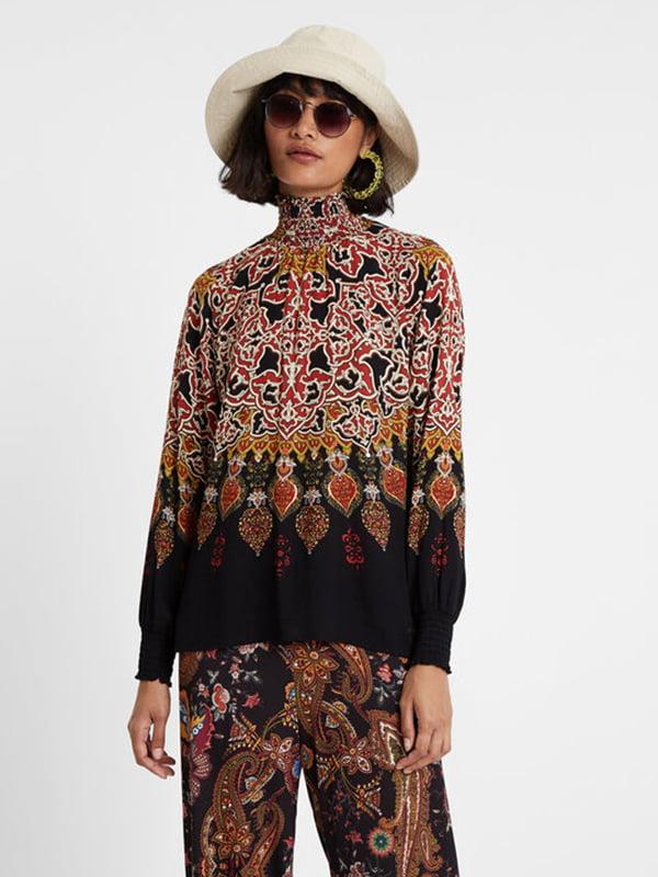 Блуза чорна в принт | 5196453