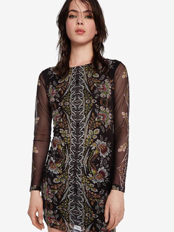 Сукня чорна в принт | 5196470