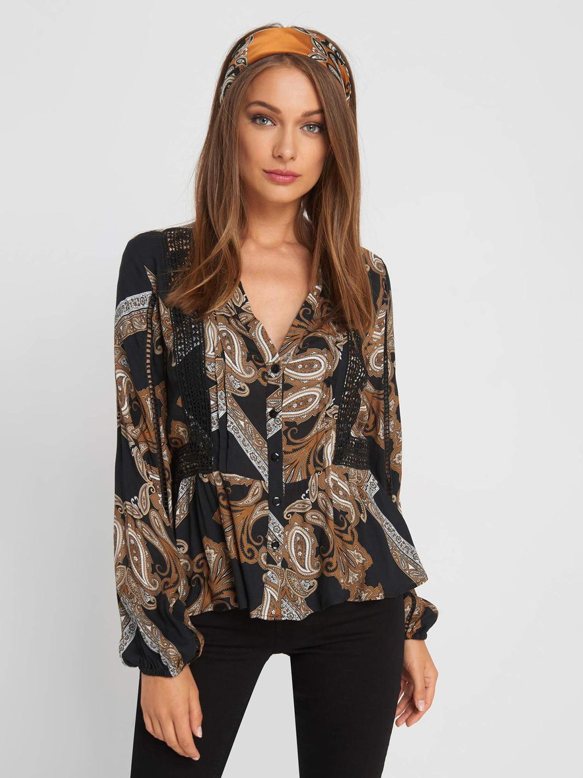 Блуза черная с принтом | 5203247