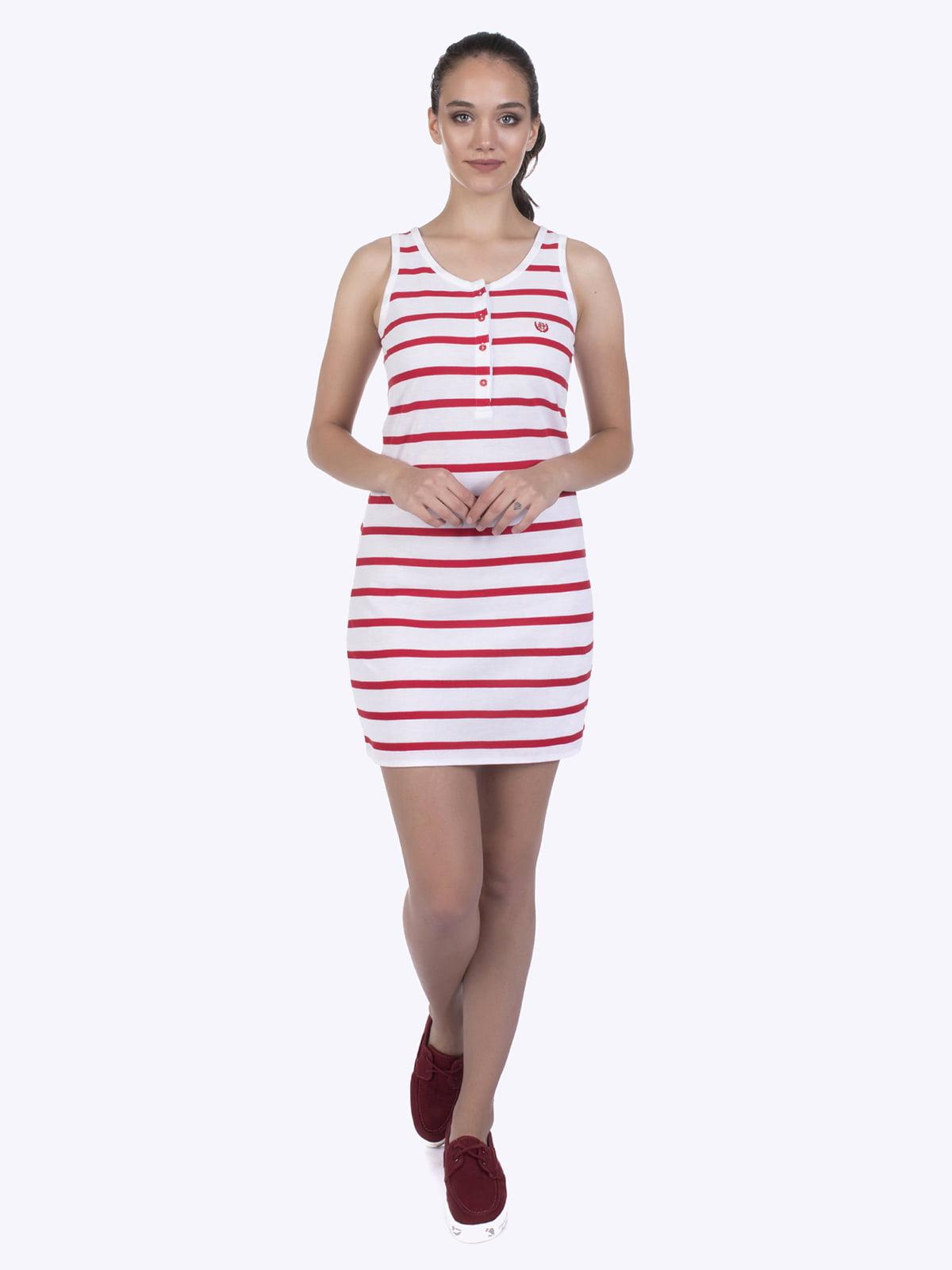 Платье белое в красную полоску | 4403579