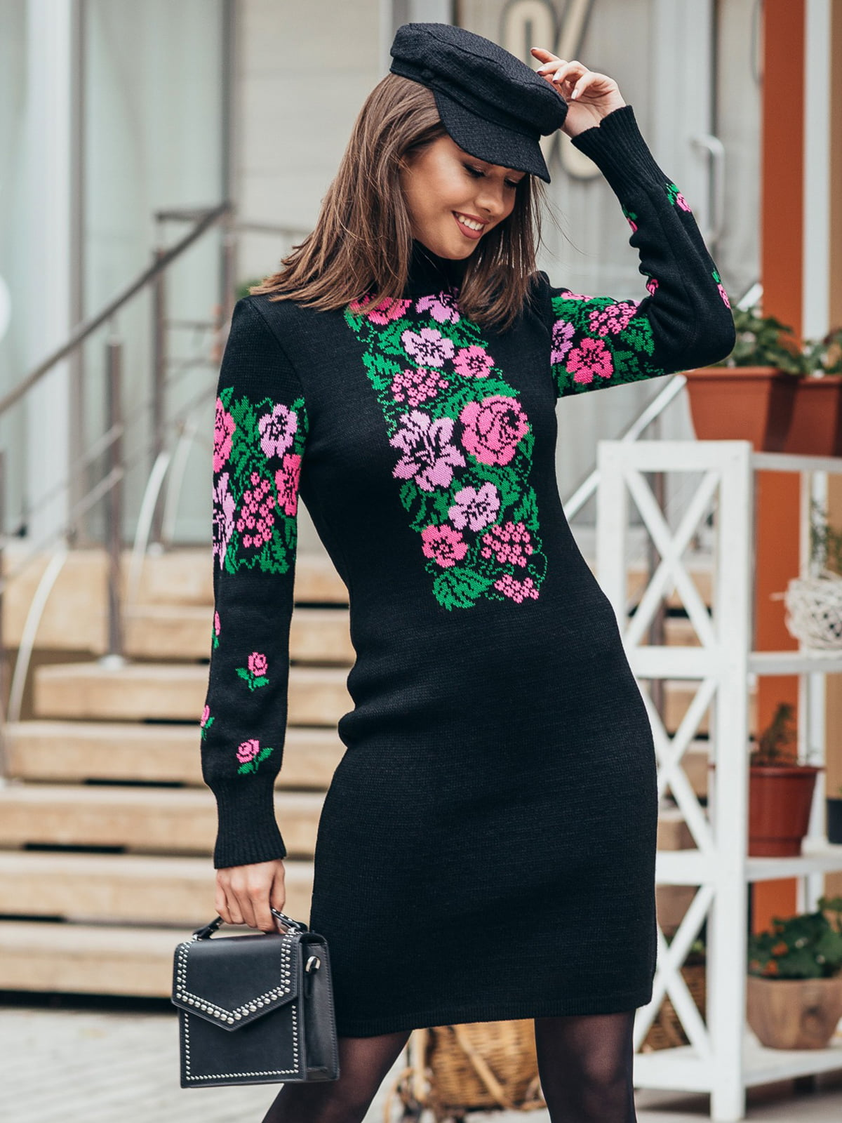 Сукня чорна з принтом | 5204514