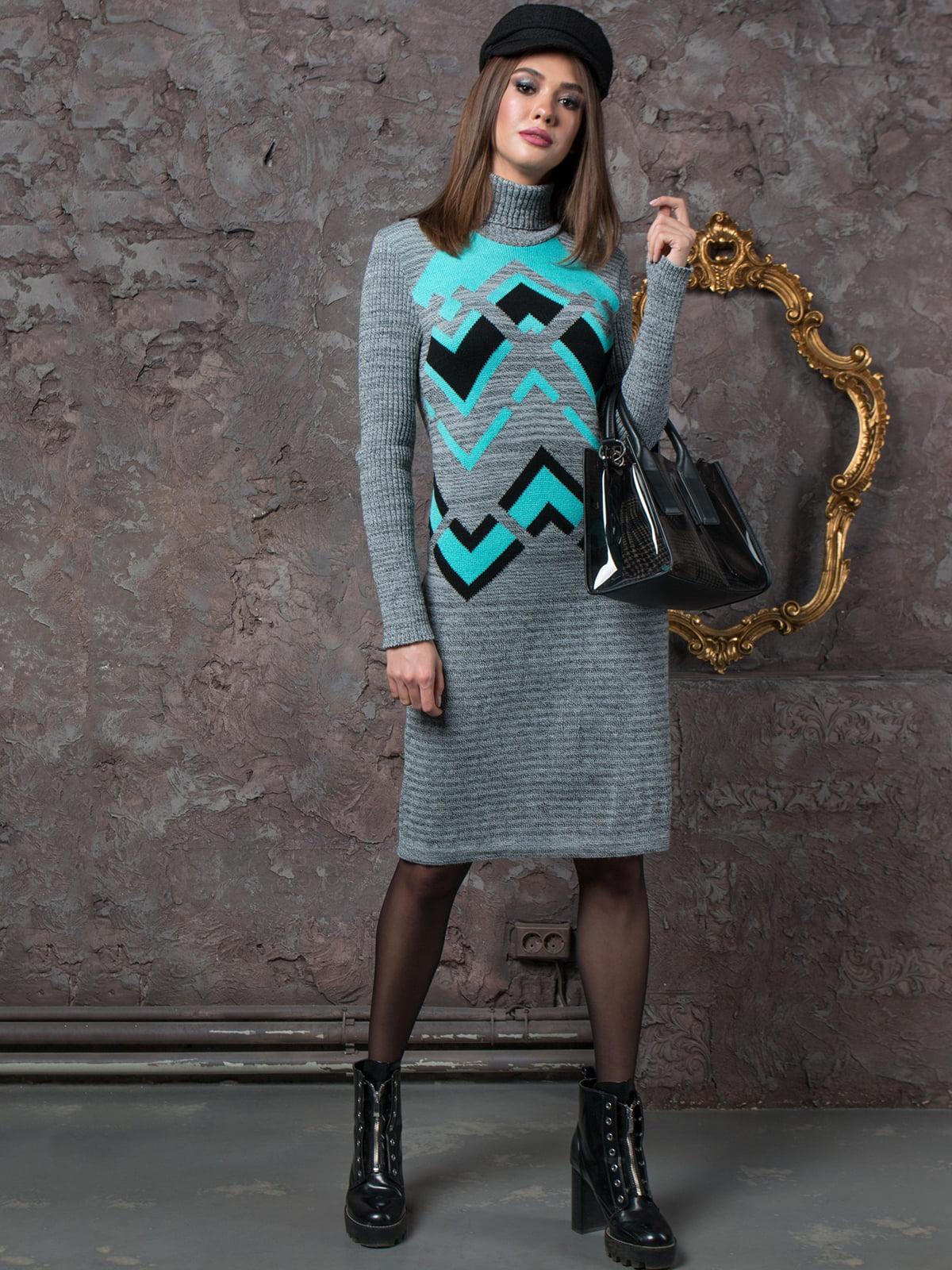 Сукня сіра з принтом | 5204570