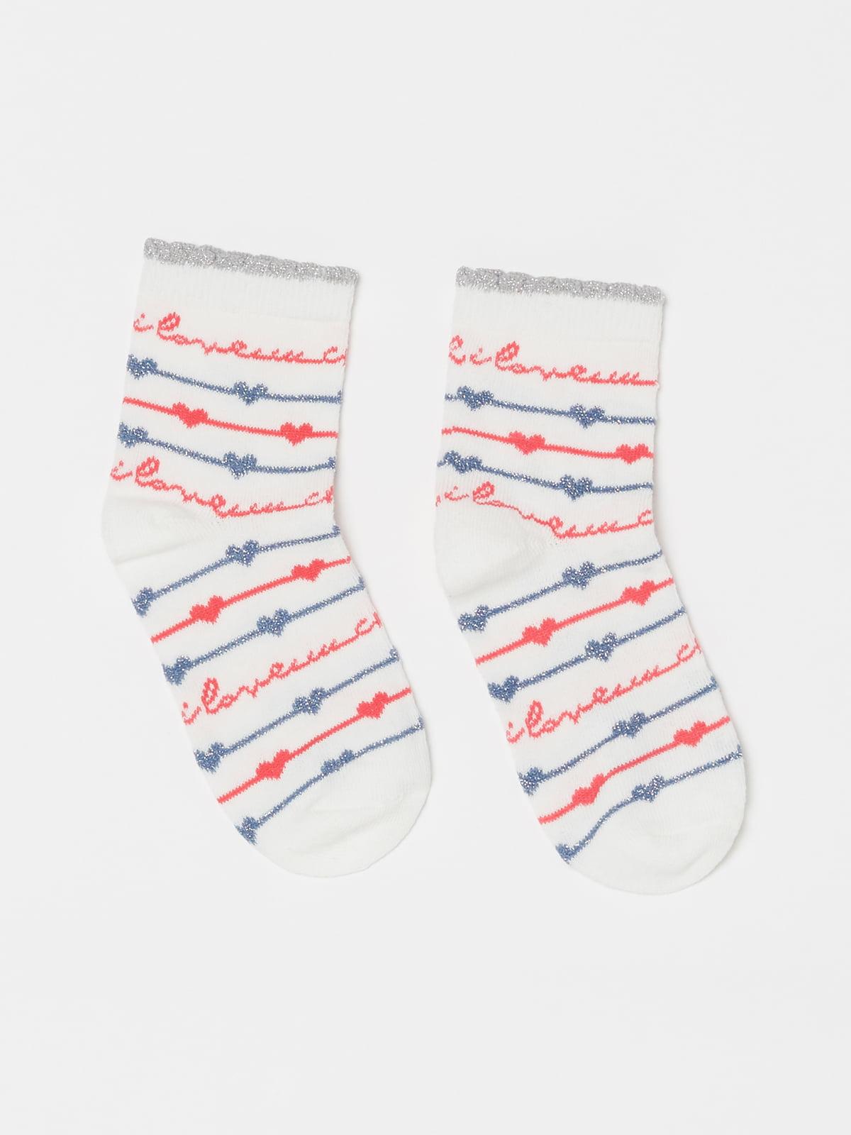 Шкарпетки білі в принт | 5183596