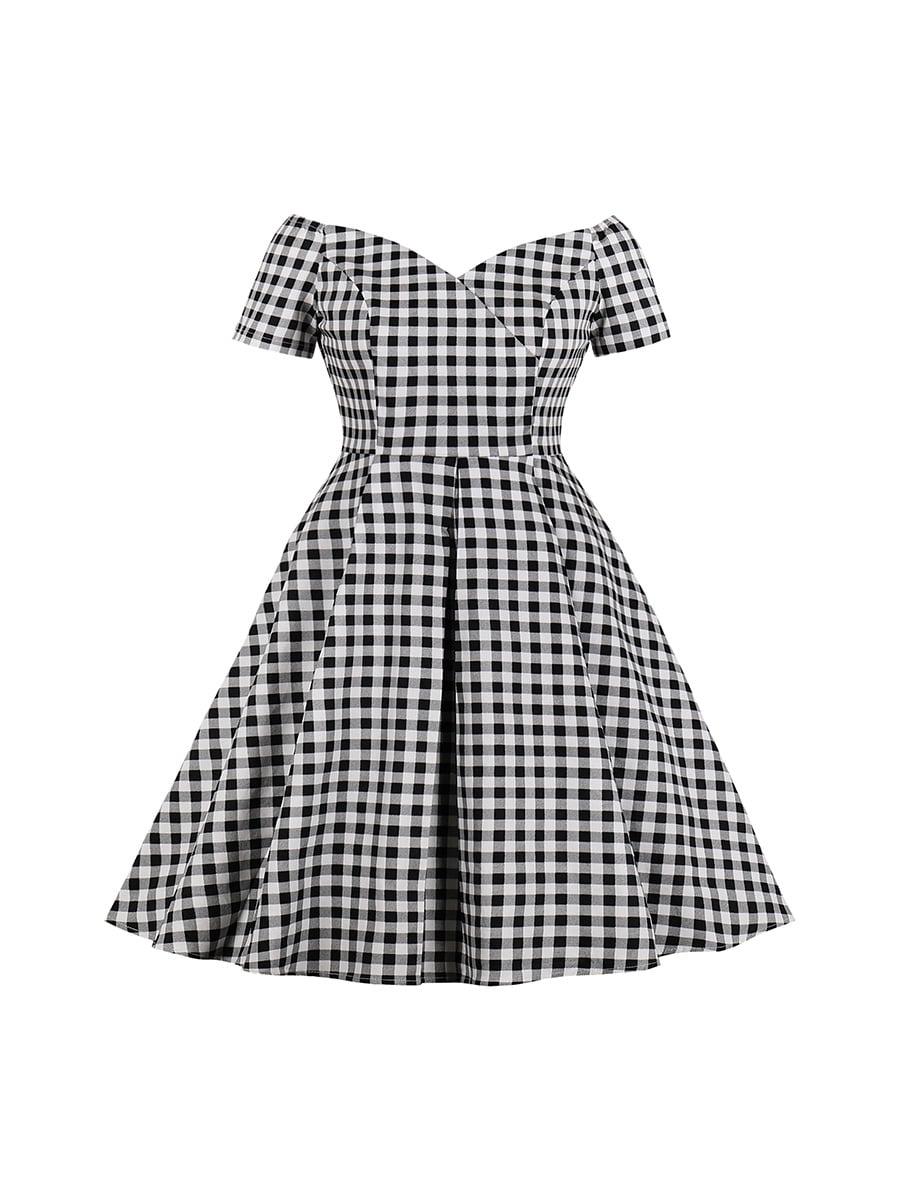 Платье черное в клетку | 5214316