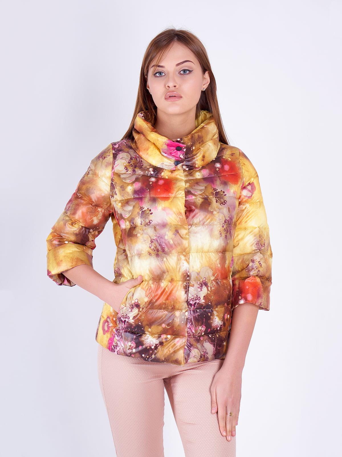 куртка желтая в принт | 5216144