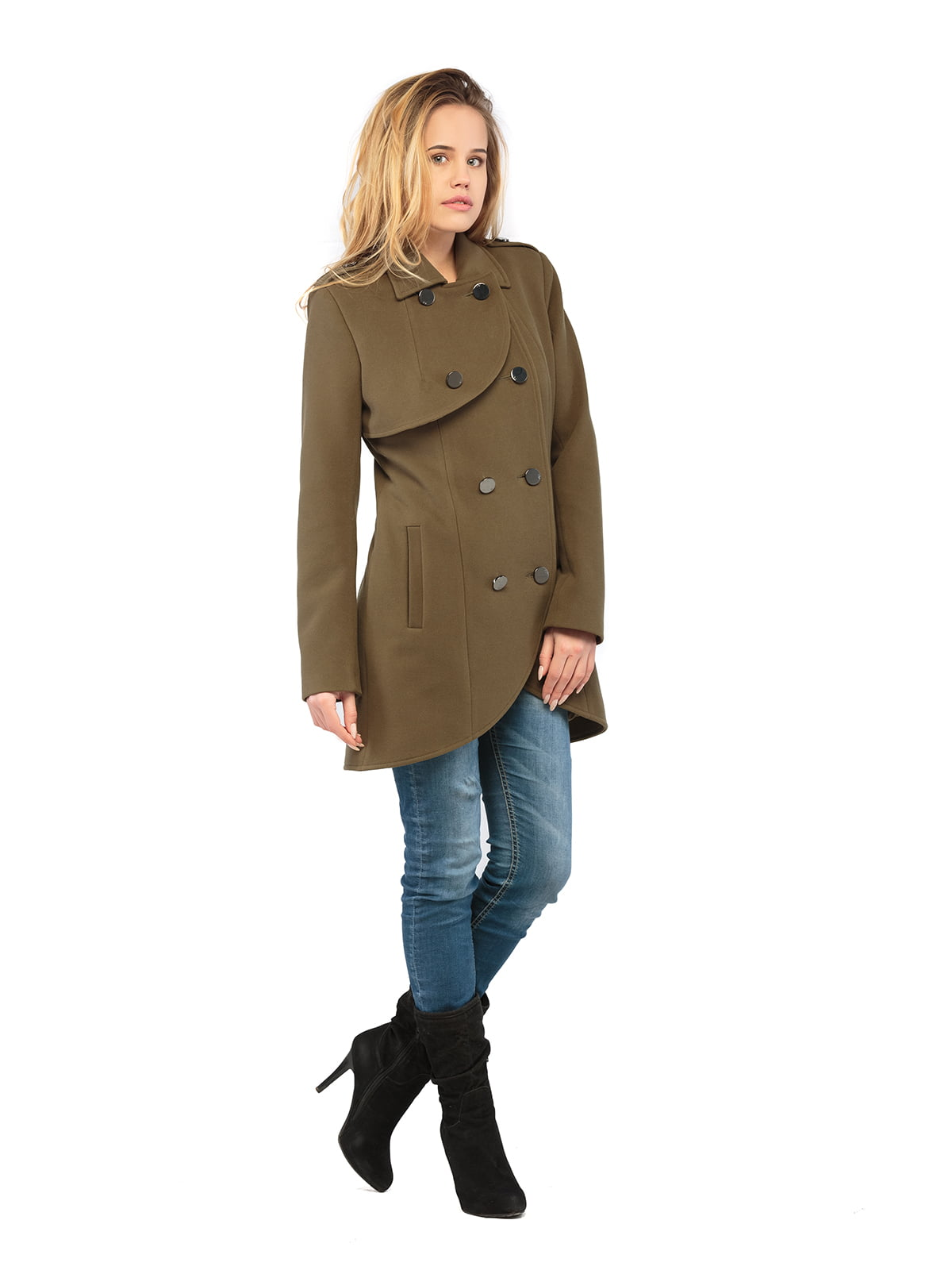 Пальто кольору хакі | 5216152
