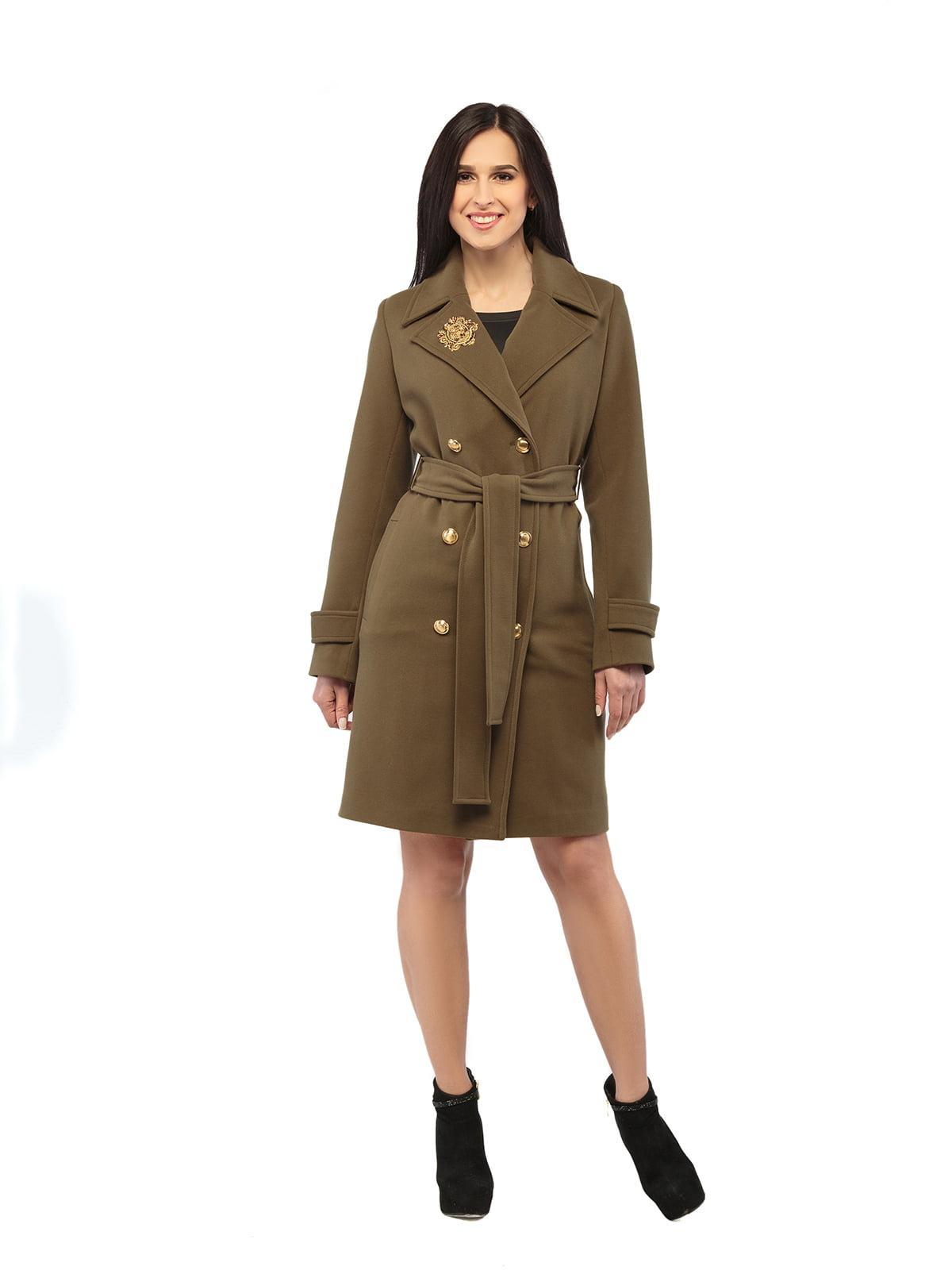 Пальто кольору хакі | 5216158