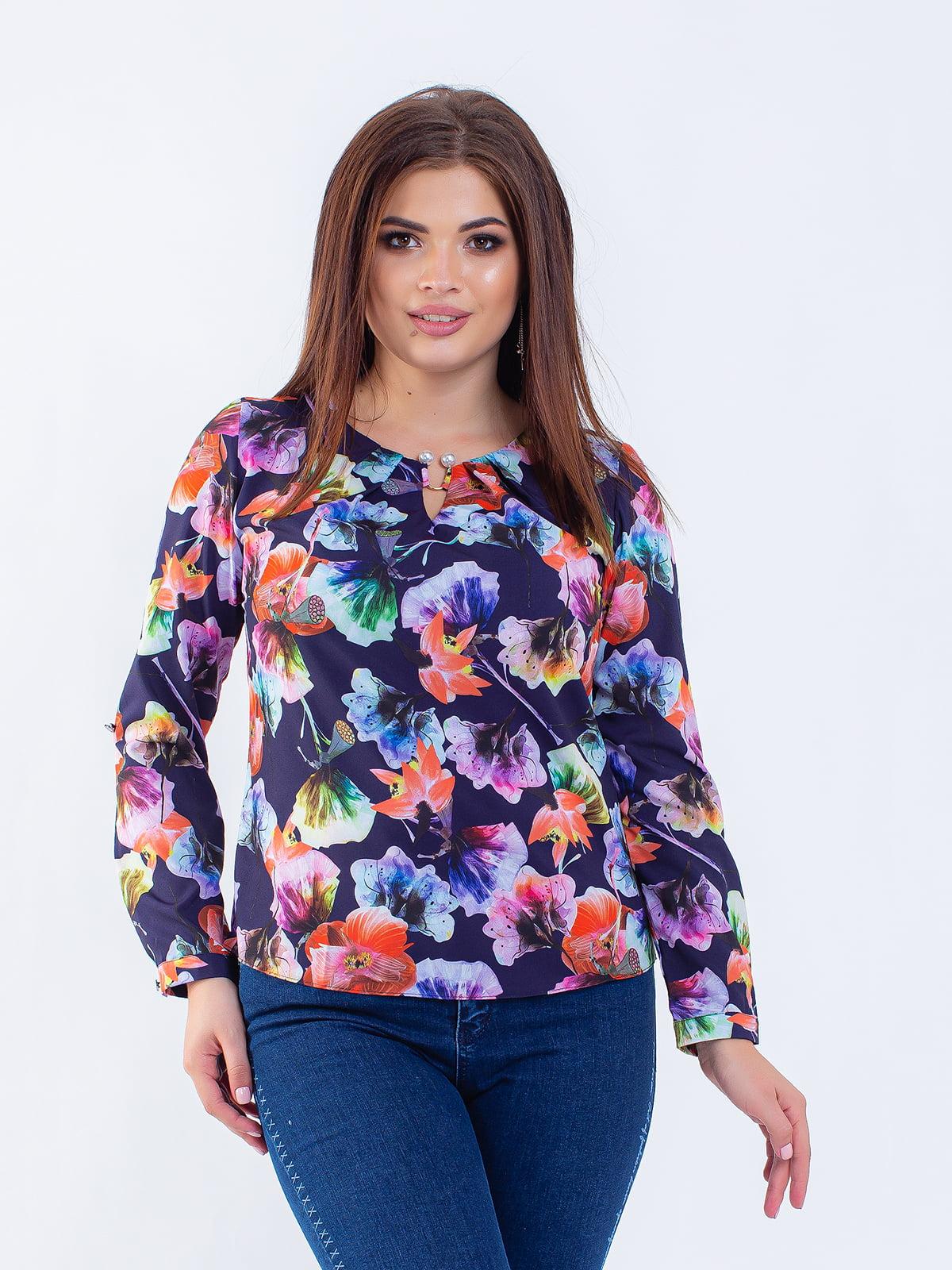 Блуза синя в квітковий принт | 5216744