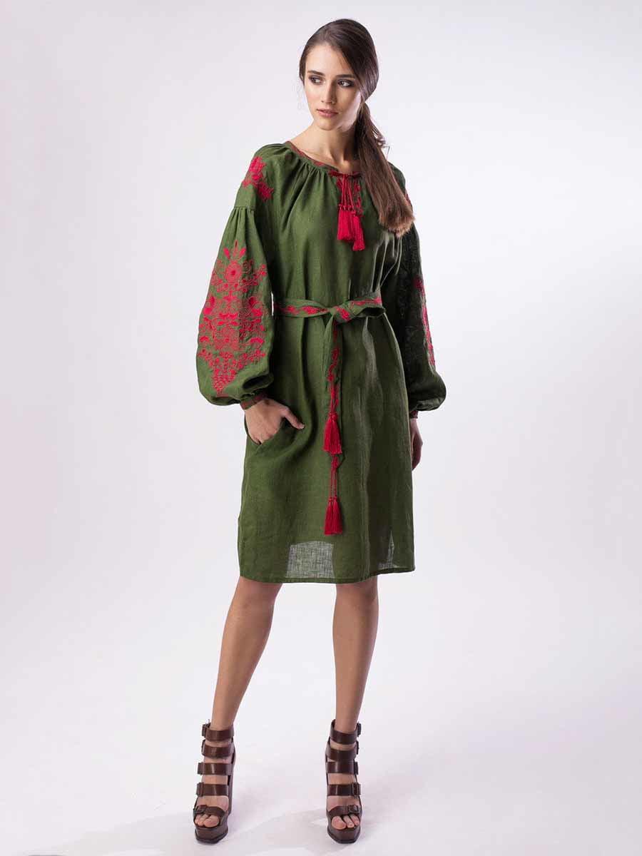 Сукня-вишиванка бутилочного кольору | 5217041