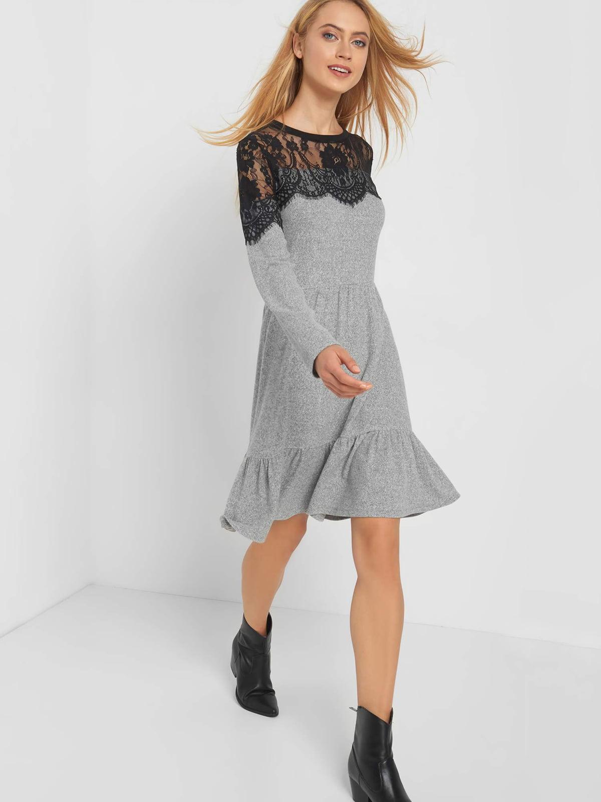 Сукня сіра з візерунком-мереживом | 5217529
