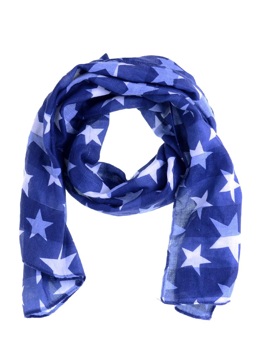 Шарф синій з принтом | 5217722