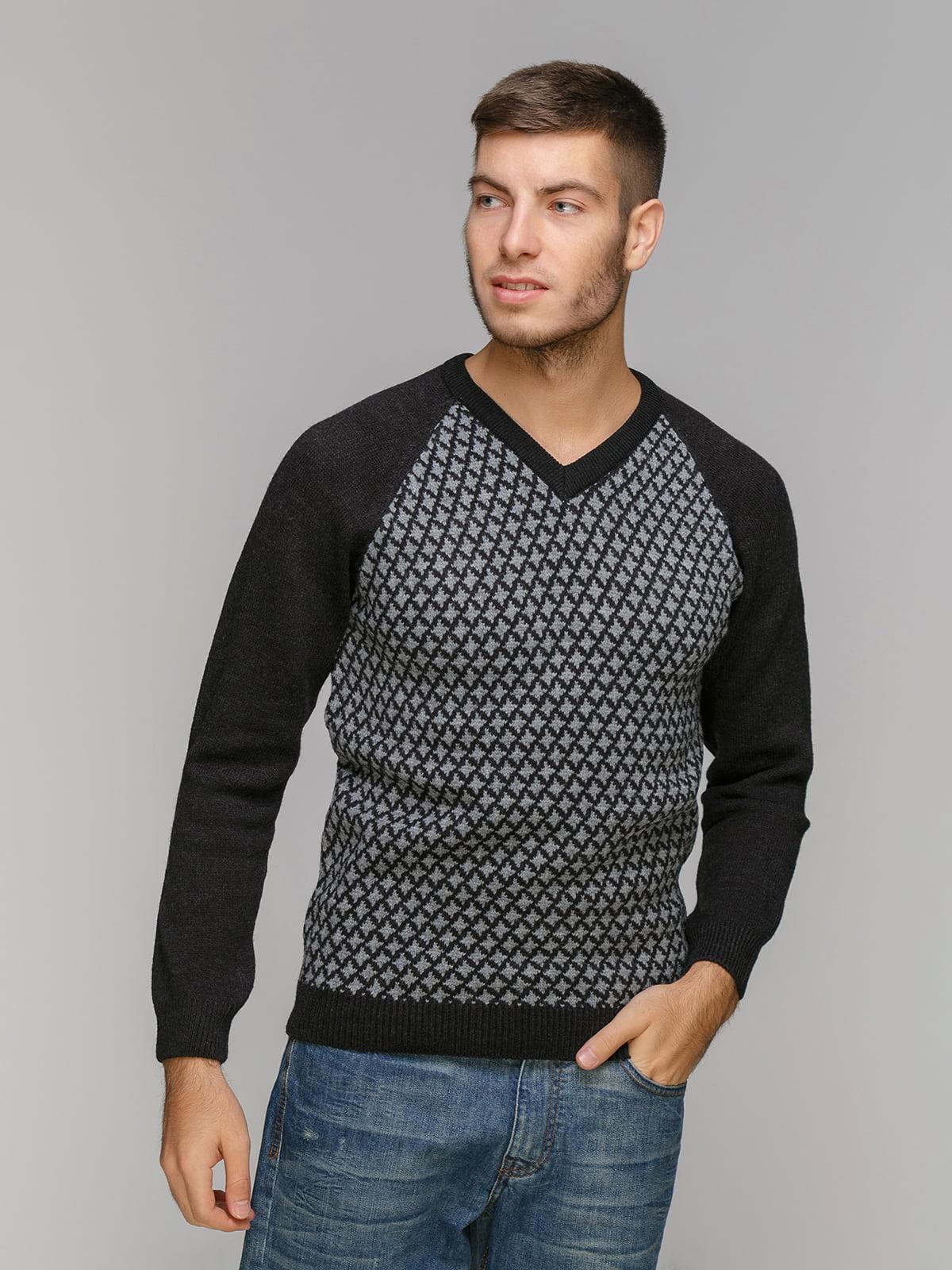 Пуловер чорний у принт   5211470