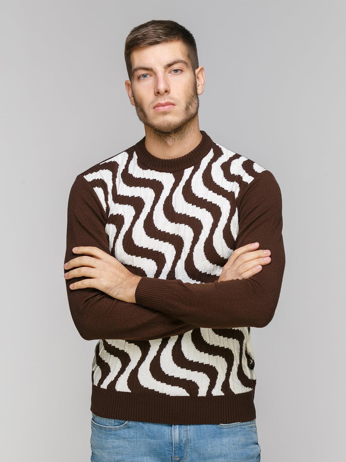 Джемпер коричневый в принт | 5216294