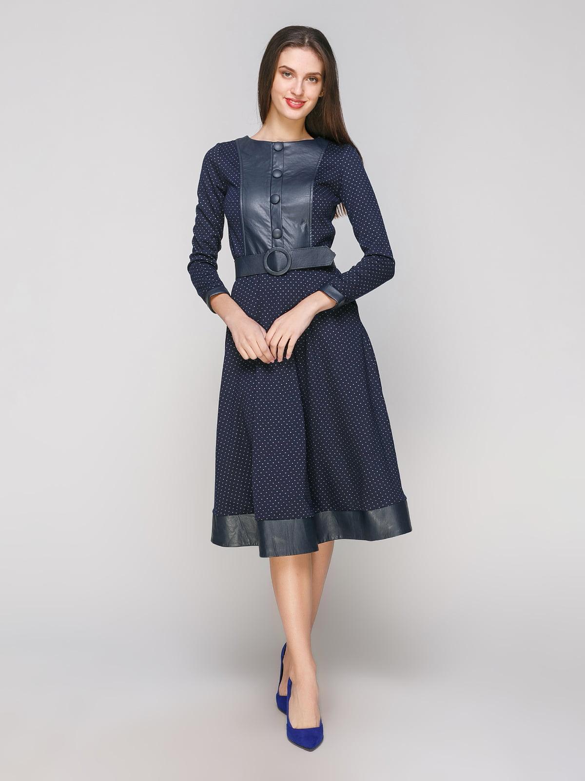 Платье синее в принт | 5208434
