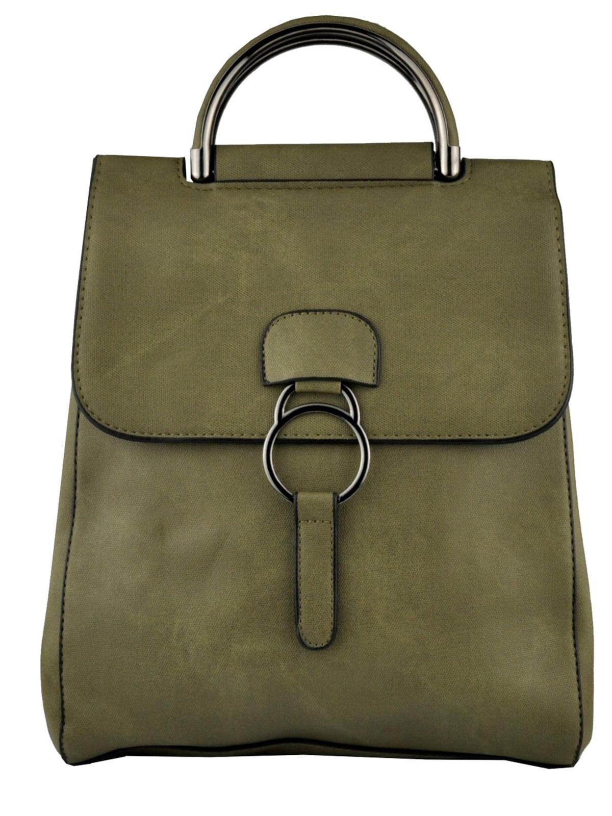 Рюкзак-сумка оливкового кольору   5219468