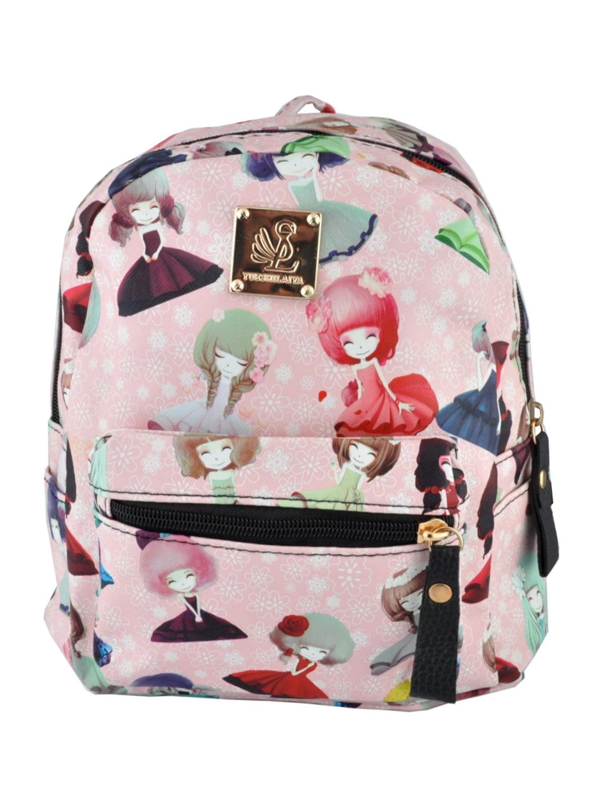 Рюкзак рожевий з принтом | 5219477