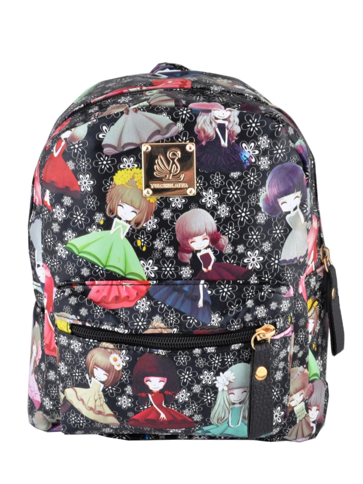Рюкзак чорний з принтом | 5219478