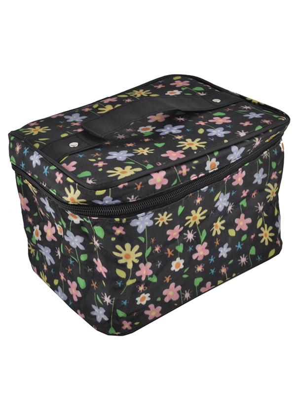 Косметичка чорна з квітковим принтом | 5219719