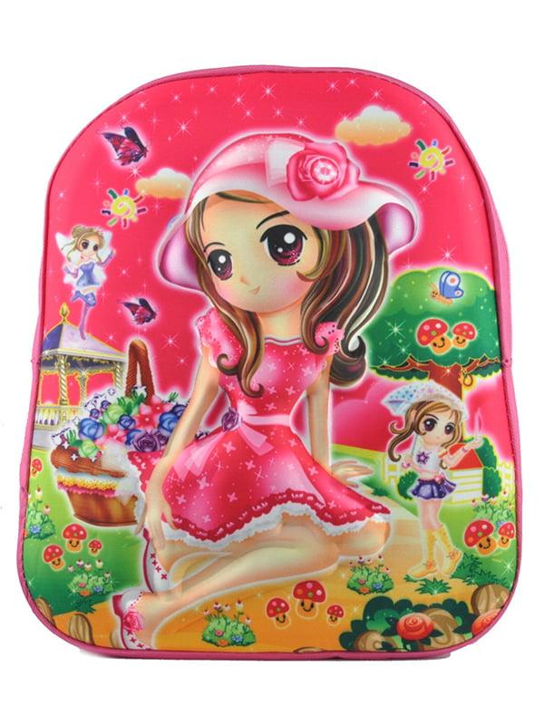 Рюкзак рожевий з принтом | 5219770