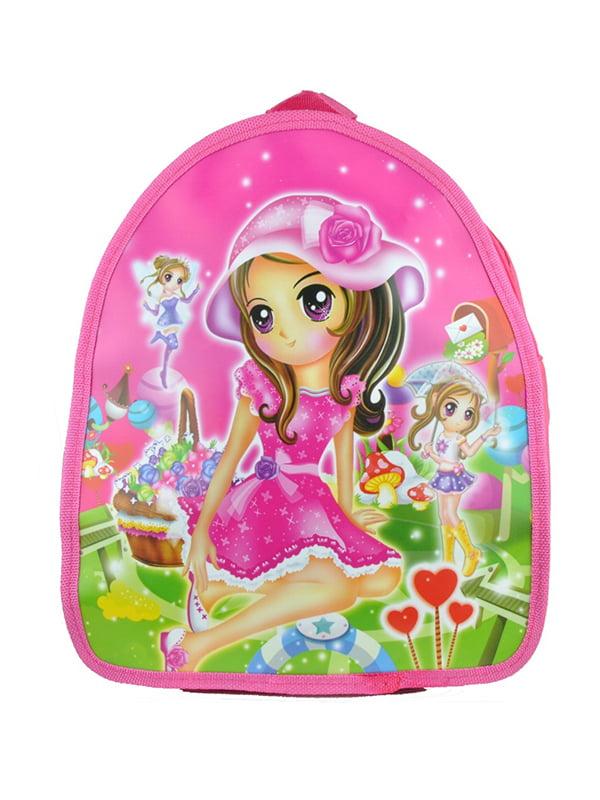 Рюкзак рожевий з принтом   5219781