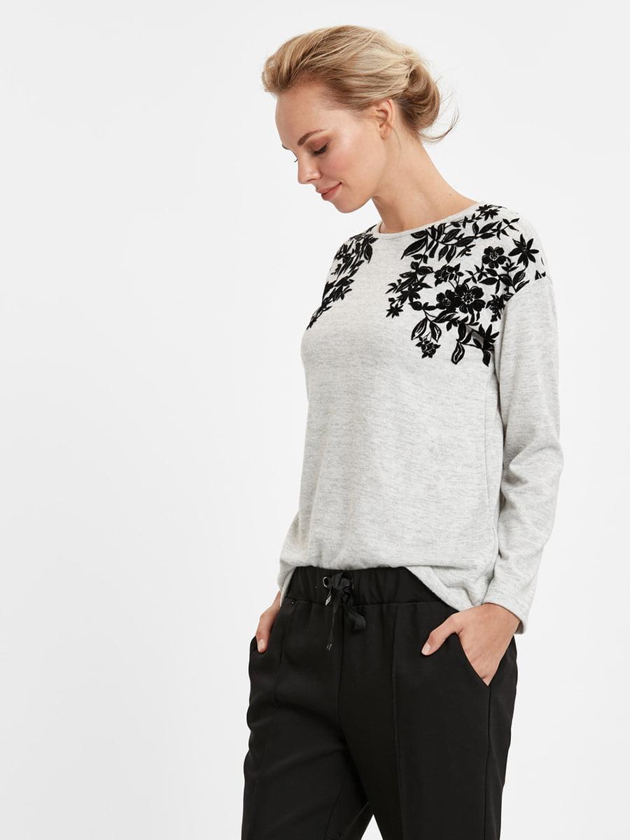 Джемпер серый с цветочным рисунком   5224166
