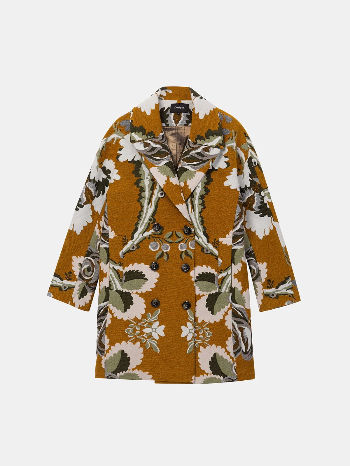 Пальто гірчичного кольору в принт | 5224806