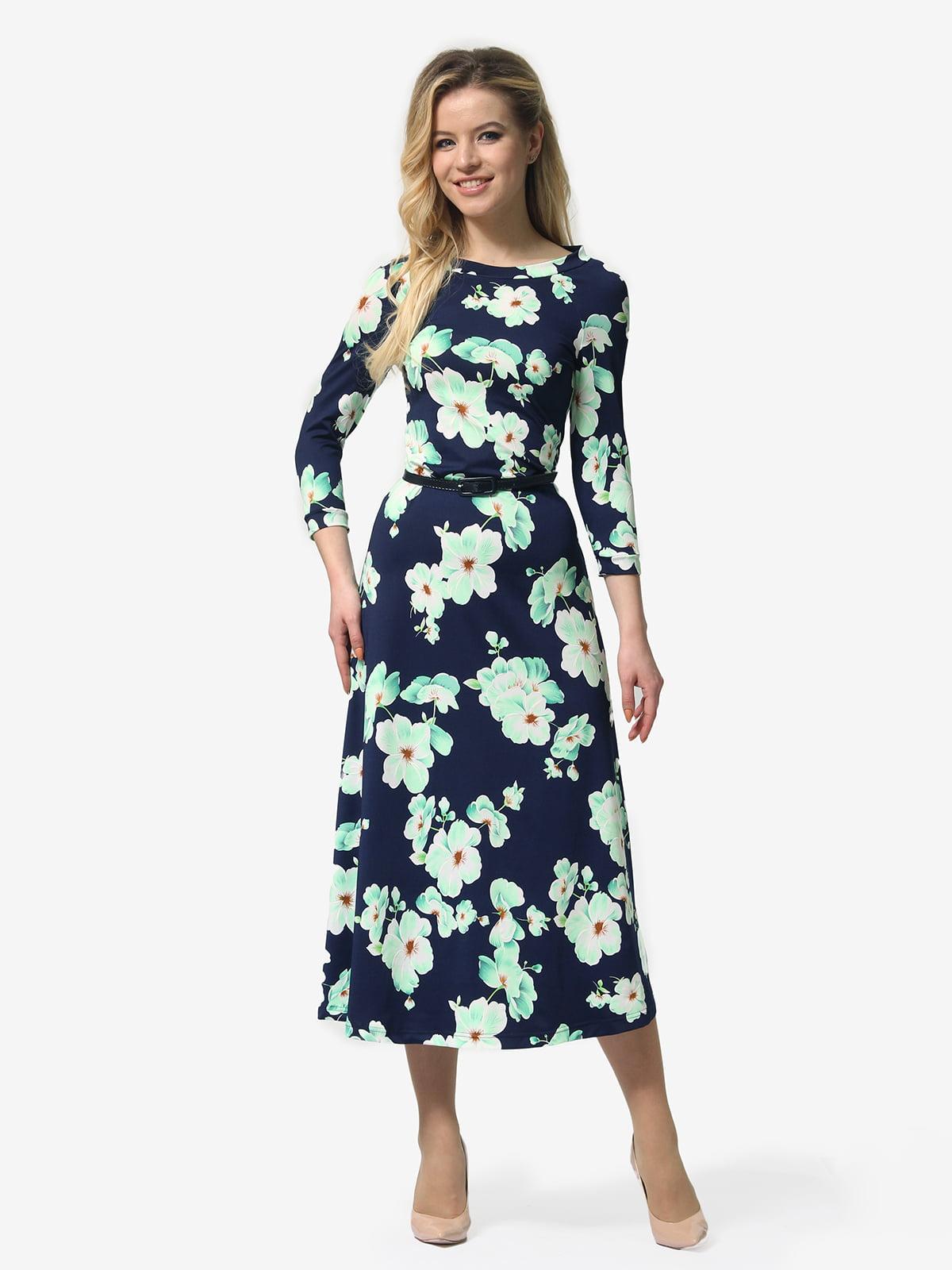 Сукня темно-синя з квітковим принтом   5224312