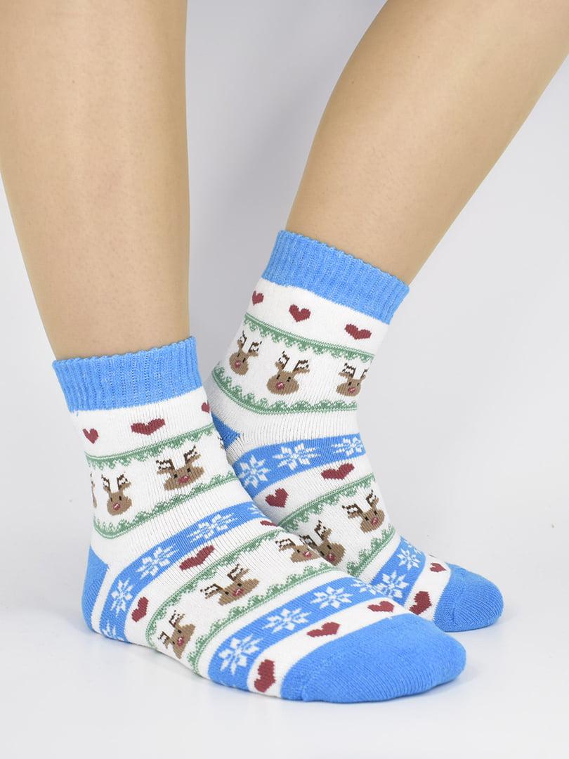 Шкарпетки біло-блакитні з орнаментом | 5226238