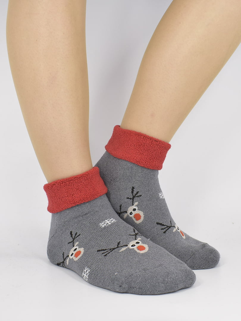 Шкарпетки сіро-червоні з малюнком | 5226251