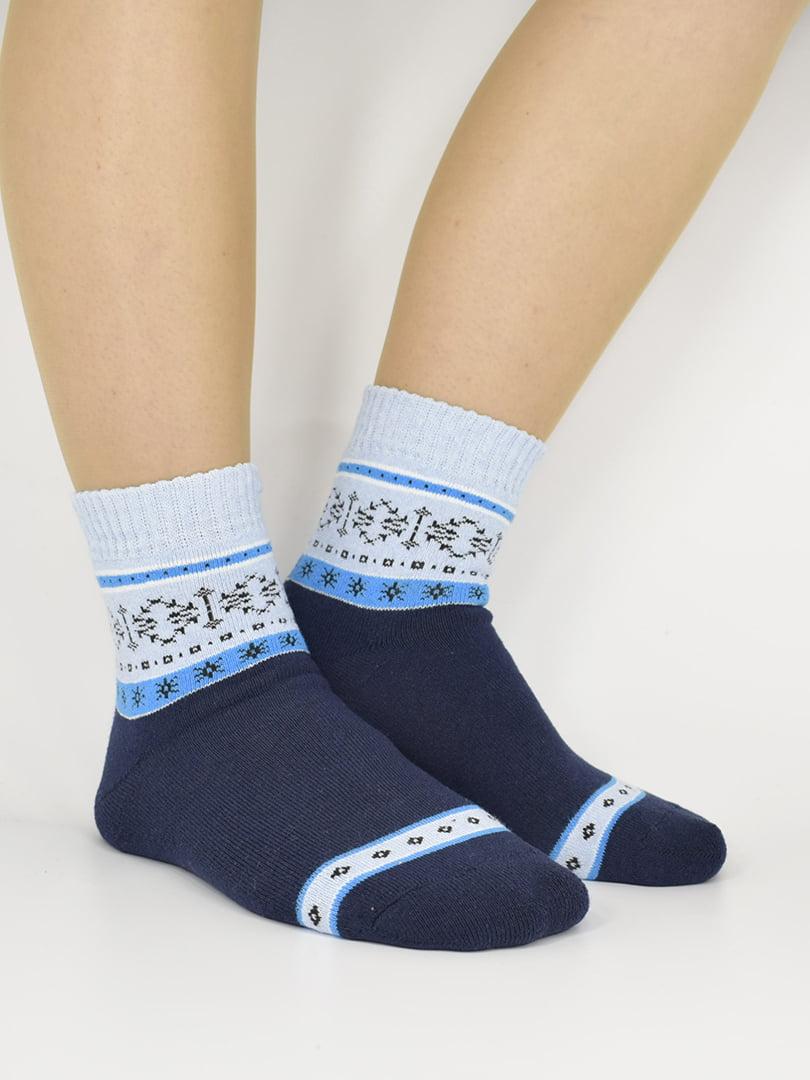 Шкарпетки синьо-блакитні з візерунком | 5226265