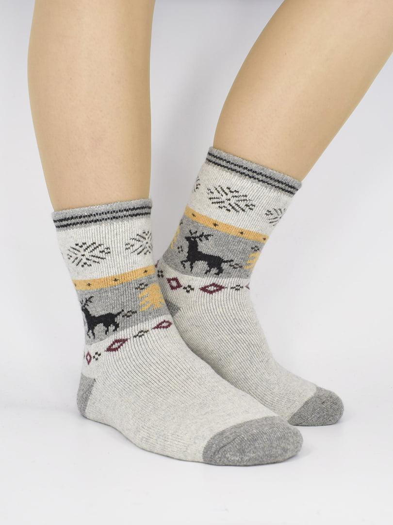 Шкарпетки світло-сірі з малюнком   5226412