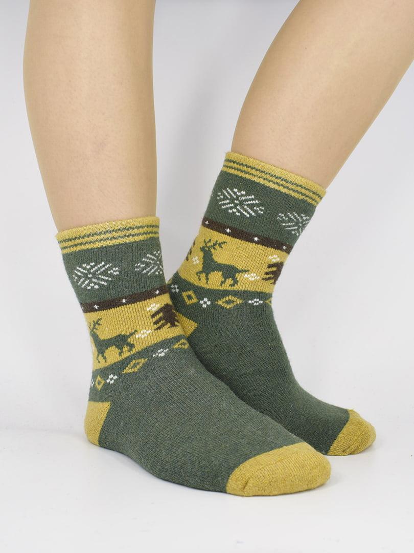 Шкарпетки зелені з малюнком | 5226413