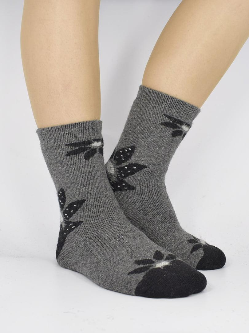 Шкарпетки темно-сірі з малюнком | 5226434