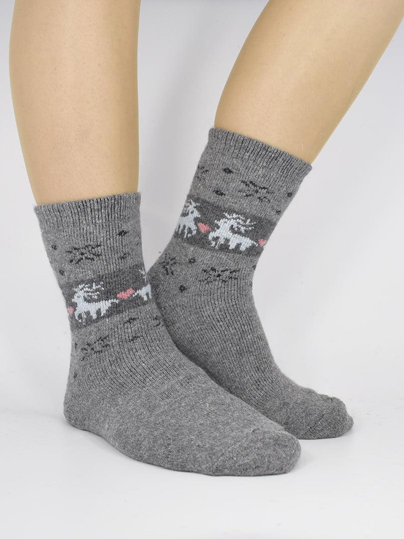 Шкарпетки сірі з орнаментом | 5226453