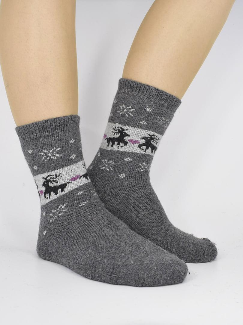 Шкарпетки темно-сірі з орнаментом   5226454