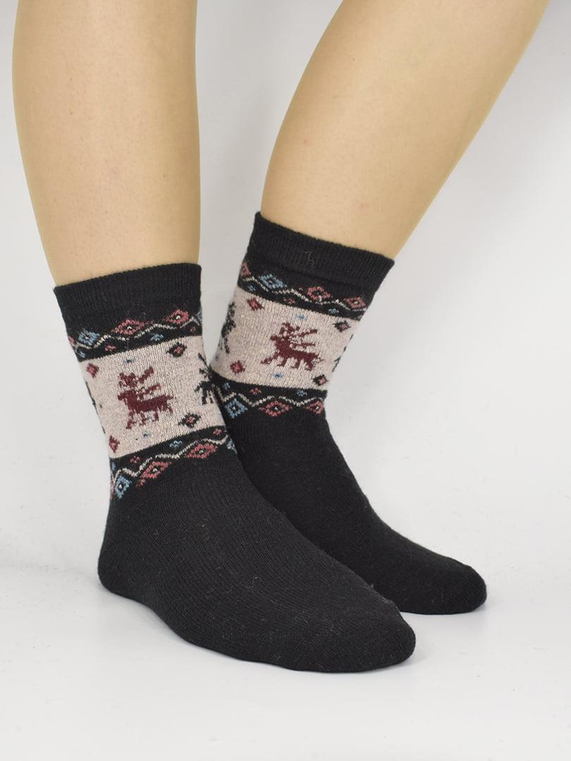 Шкарпетки чорні з орнаментом | 5226486